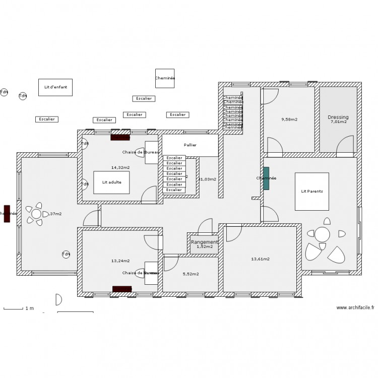 maison familiale tage 1 plan 11 pi ces 144 m2 dessin par plasmopara. Black Bedroom Furniture Sets. Home Design Ideas