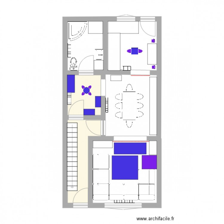 maison plan 2 pi ces 9 m2 dessin par aurelieethan. Black Bedroom Furniture Sets. Home Design Ideas