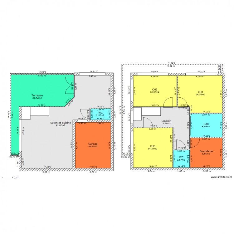 Plan Maison 2 Niveaux Inversés. Plan De 11 Pièces Et 153 M2