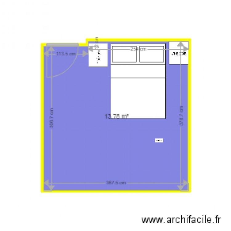 Chambre plan 1 pi ce 14 m2 dessin par notrenid for Chambre one piece
