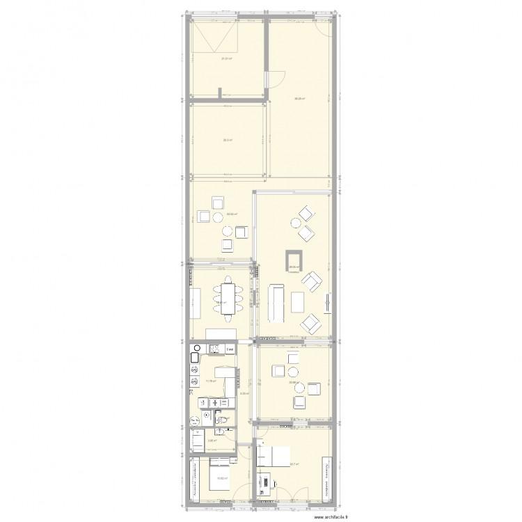 Chardons patio cuisine plan 13 pi ces 230 m2 dessin par for Dessiner plan patio