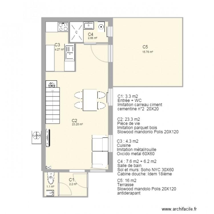 la maison basque carrelage - Plan 6 pièces 49 m2 dessiné par xarks