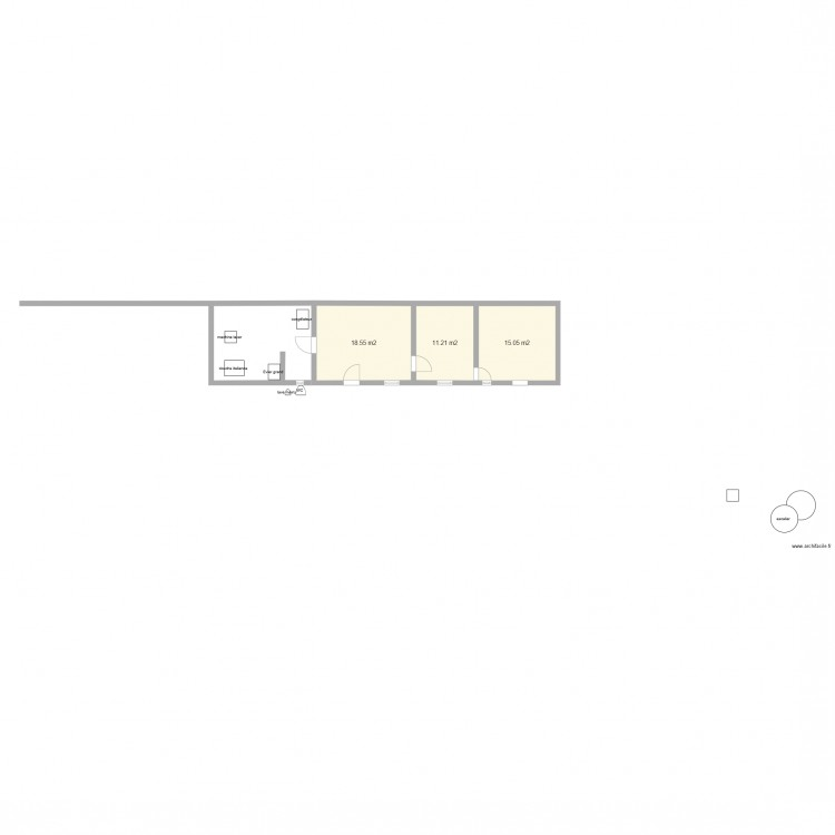 Cellier buanderie wc sdb extension plan 3 pi ces 45 m2 dessin par chhulu - Plan cellier buanderie ...