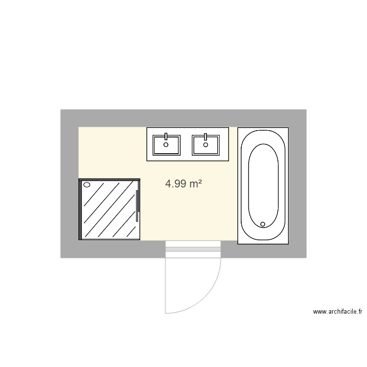 sdb plan 1 pi ce 5 m2 dessin par xsim. Black Bedroom Furniture Sets. Home Design Ideas