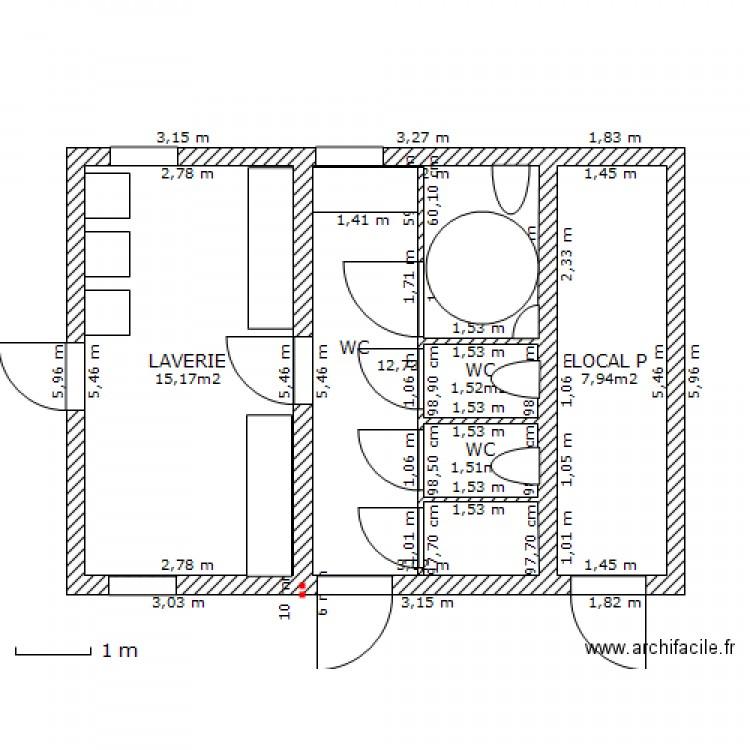 laverie toilettes plan 5 pi ces 39 m2 dessin par quadeuzz. Black Bedroom Furniture Sets. Home Design Ideas