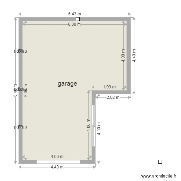 garage double atelier plan 1 pi ce 40 m2 dessin par olivier1970. Black Bedroom Furniture Sets. Home Design Ideas