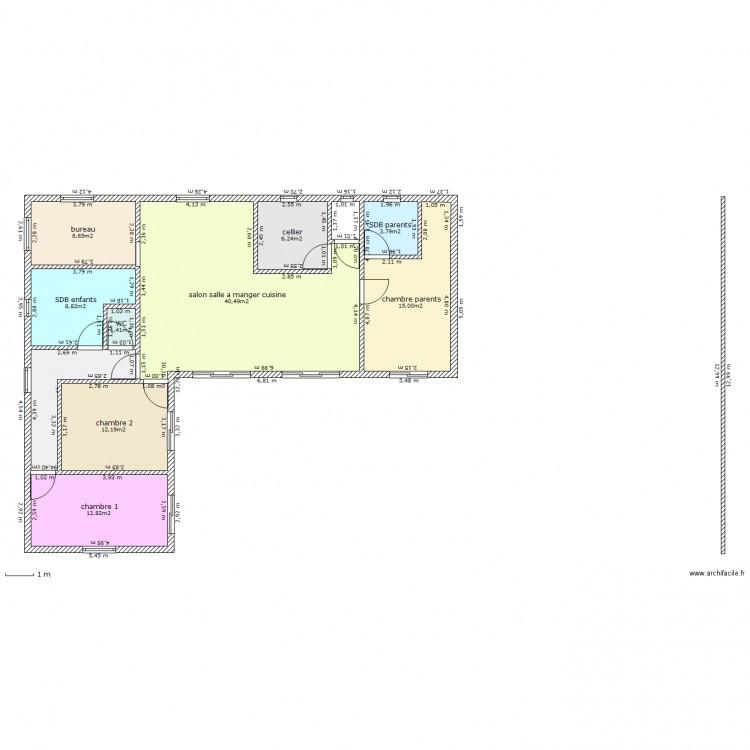 Maison plein pied en u 3 plan 10 pi ces 117 m2 dessin - Plan maison 3 chambres 1 bureau ...