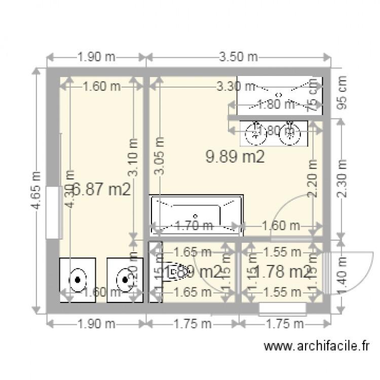Salle de bain lingerie 5 plan 4 pi ces 20 m2 dessin par joachim25 - Lingerie salle de bain ...