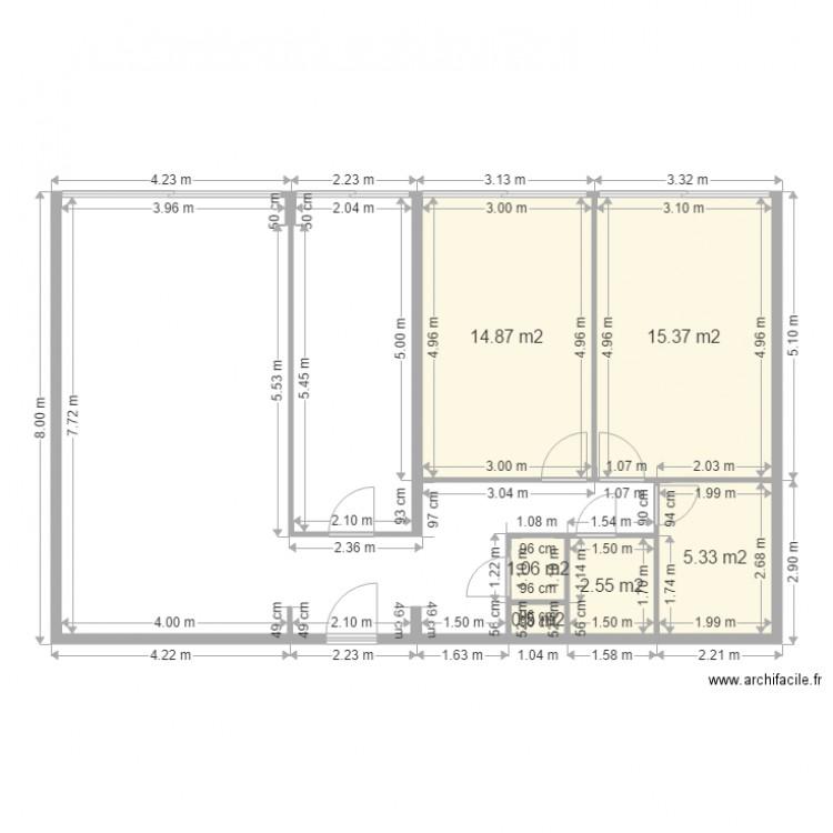 brillant 86 vide plan 6 pi ces 40 m2 dessin par toureanicet. Black Bedroom Furniture Sets. Home Design Ideas