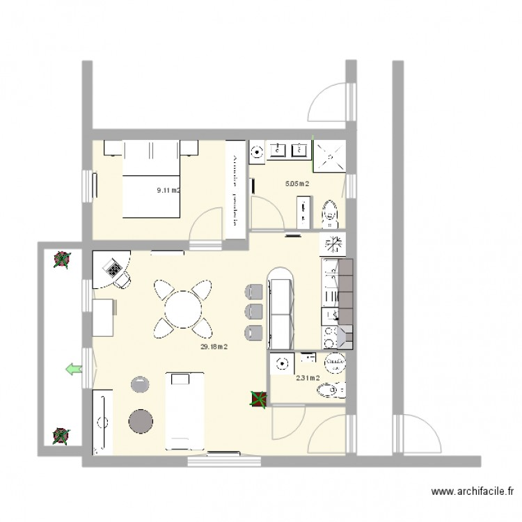 plan appartement 46 m2