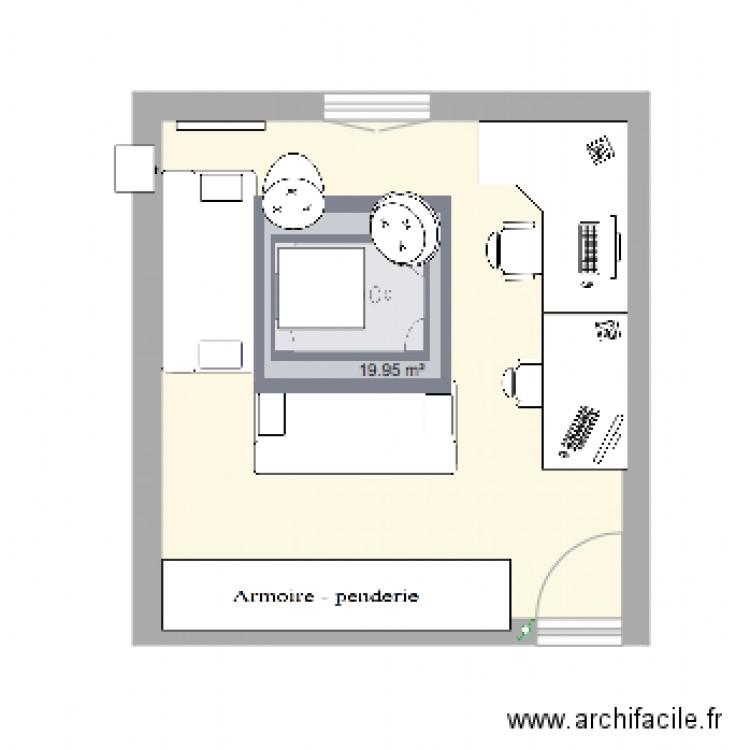 Chambre plan 1 pi ce 20 m2 dessin par leycie ilice for Chambre one piece