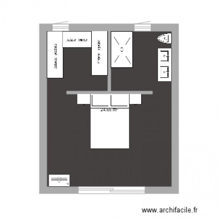 Chambre parentale plan 1 pi ce 25 m2 dessin par karineroc for Taille chambre parentale