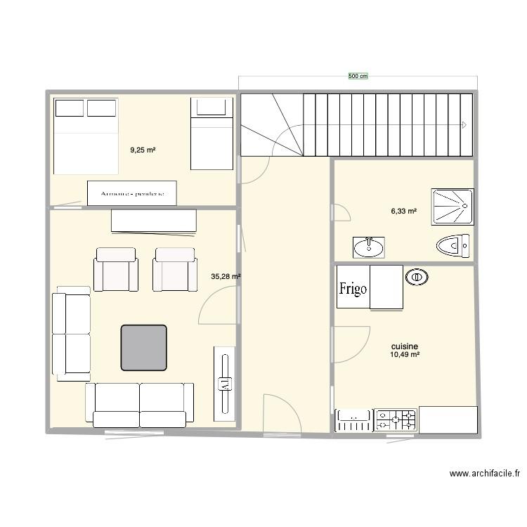 Maison dakar plan 5 pi ces 23 m2 dessin par maphilo 20 for Plan de maison 5 pieces