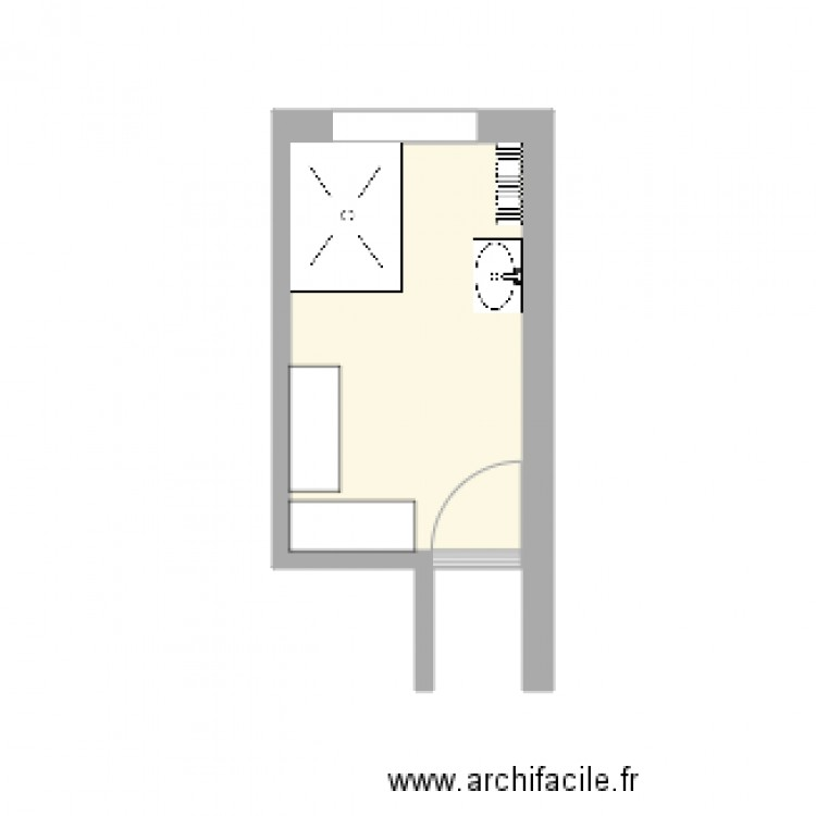 salle de bain mace proposition plan 1 pi ce 6 m2 dessin par ergoemilie. Black Bedroom Furniture Sets. Home Design Ideas