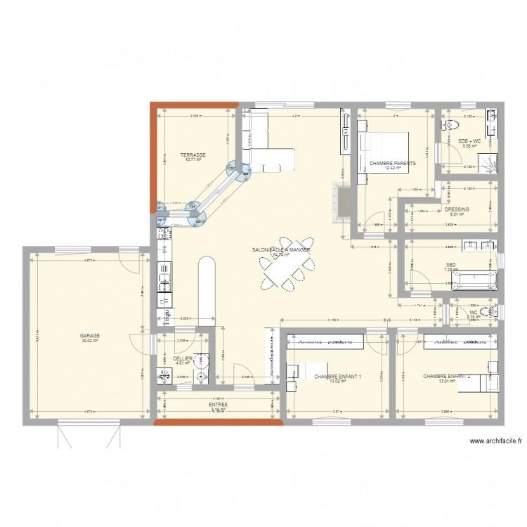 Maison tarrade champion plan 2 plan 12 pi ces 174 m2 dessin par - Plan de maison 2 pieces ...