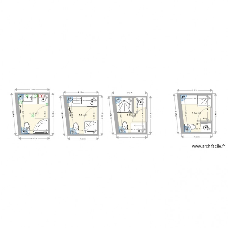 Salle de bain 4 plan 4 pi ces 16 m2 dessin par grymm for Salle de bain 4 m2