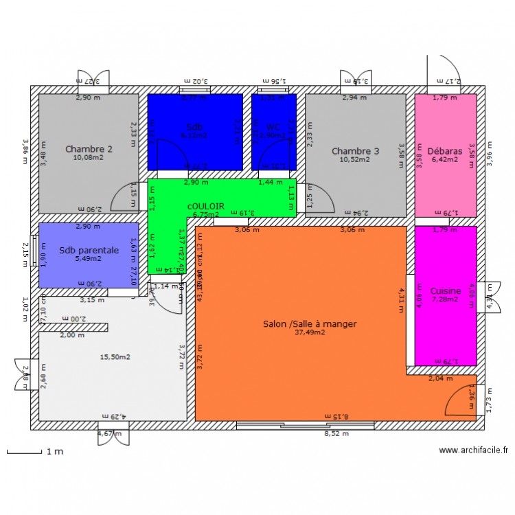 1ere maison f4 plan 10 pi ces 109 m2 dessin par bastol for Plan maison type f4