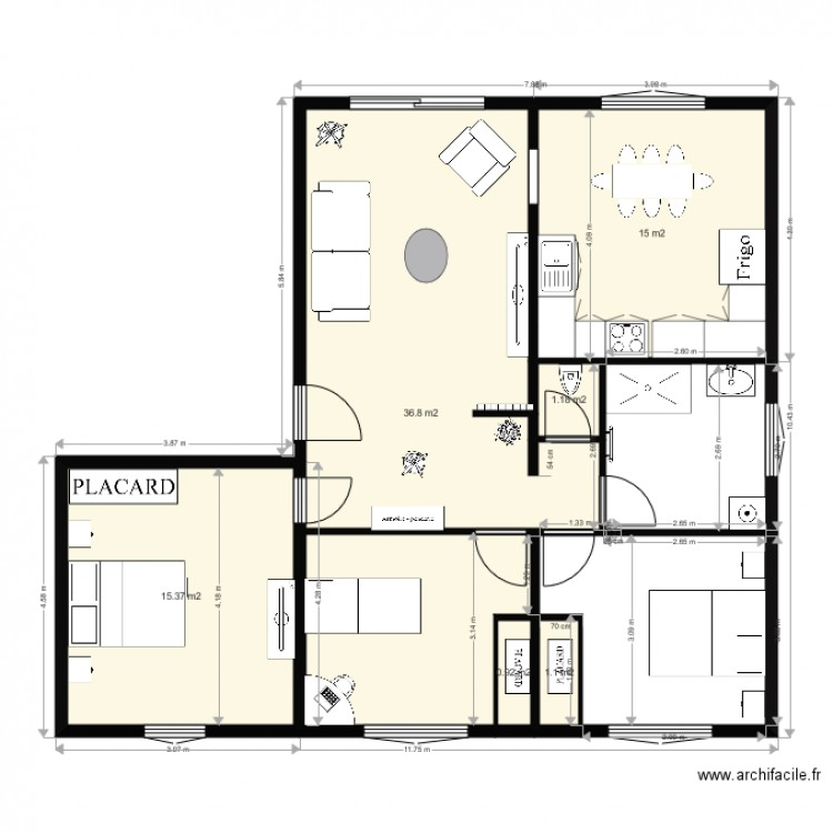 plan appartement castres plan 6 pi ces 70 m2 dessin par. Black Bedroom Furniture Sets. Home Design Ideas