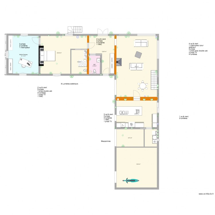 Plan complet maison molieres cuisine dans grange plan 20 for Plan maison complet