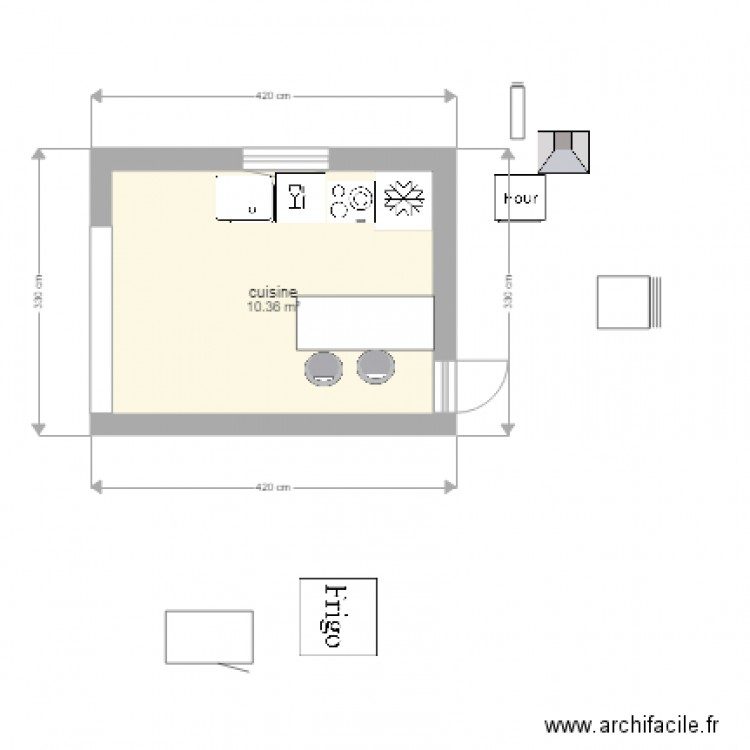 cuisine maman plan 1 pi ce 10 m2 dessin par guilleux mathilde. Black Bedroom Furniture Sets. Home Design Ideas
