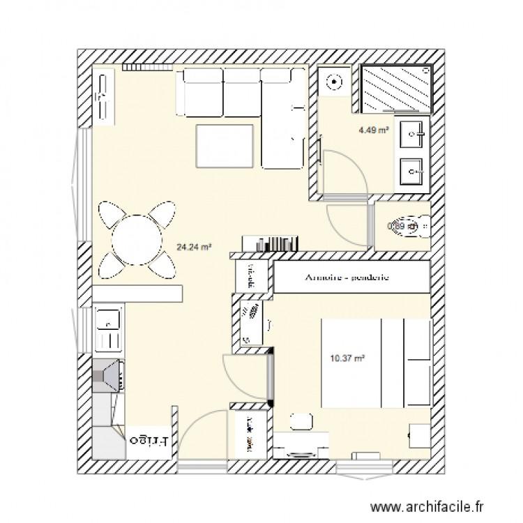 plan f2 plan 4 pi ces 40 m2 dessin par ribellu70. Black Bedroom Furniture Sets. Home Design Ideas