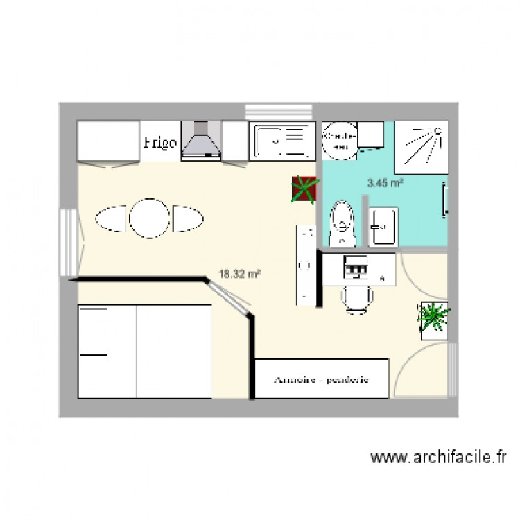 appartement 1er tage droit vide plan 2 pi ces 22 m2 dessin par lucan. Black Bedroom Furniture Sets. Home Design Ideas