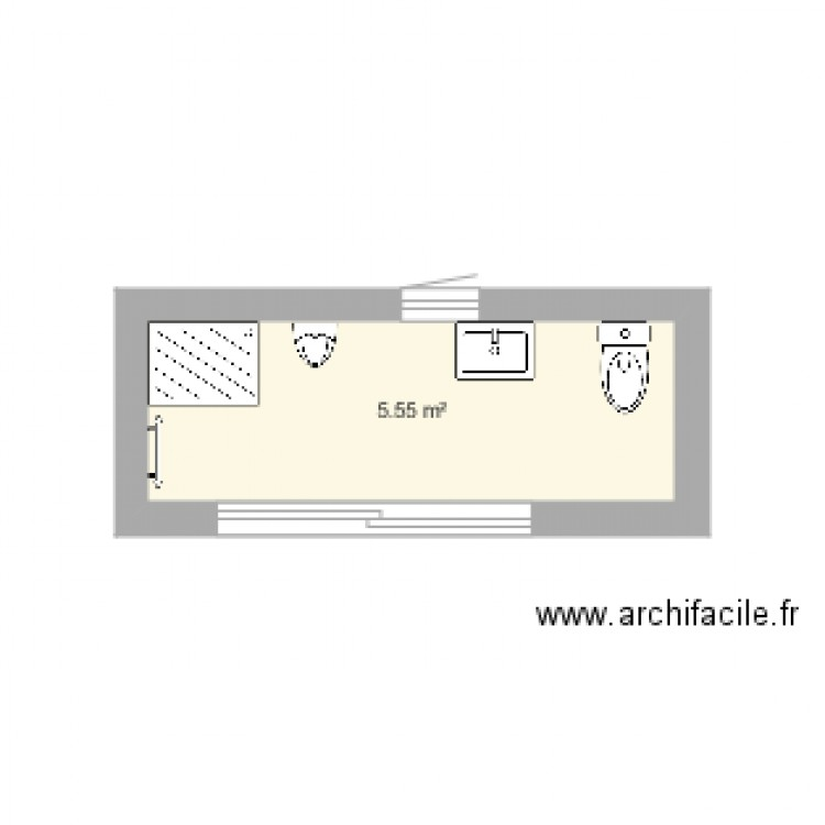 salle de bain plan 1 pi ce 6 m2 dessin par linda. Black Bedroom Furniture Sets. Home Design Ideas