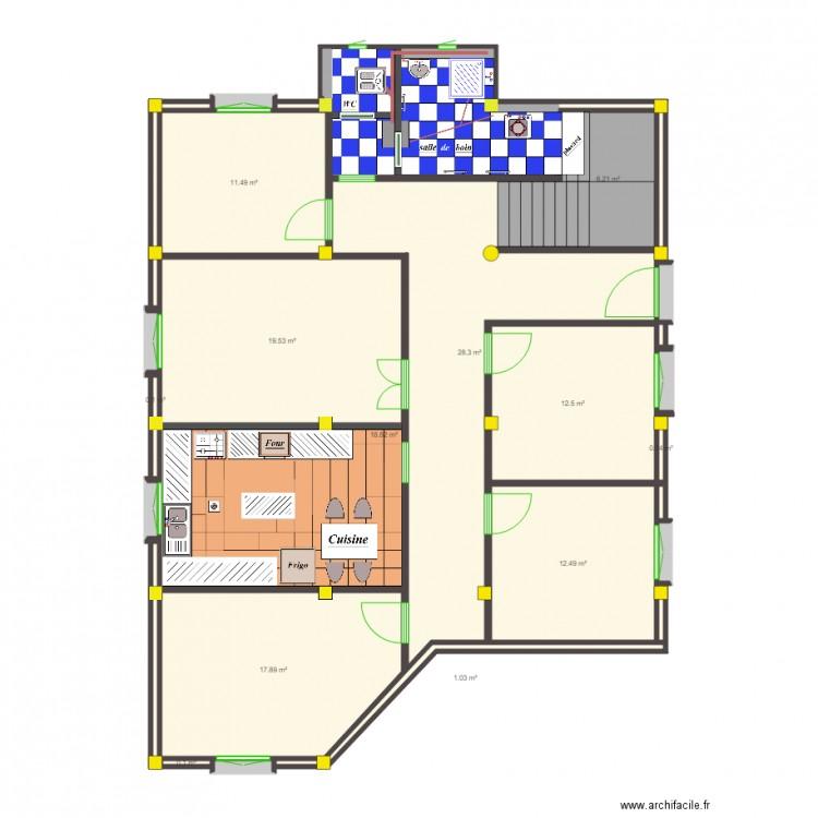 Maison rdc 14236 plan 30 pi ces 144 m2 dessin par koceilano - Consommation electrique moyenne maison 140 m2 ...