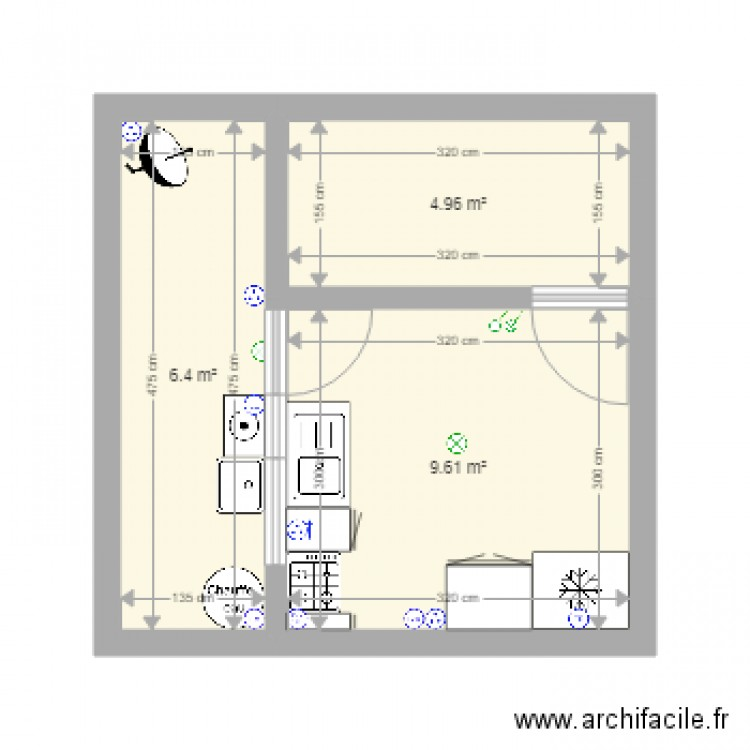 sch ma lectrique cuisine plan 3 pi ces 21 m2 dessin par salah 2903. Black Bedroom Furniture Sets. Home Design Ideas
