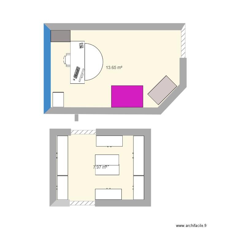 Bureau plan 2 pi ces 22 m2 dessin par mary01 for Bureau petite taille