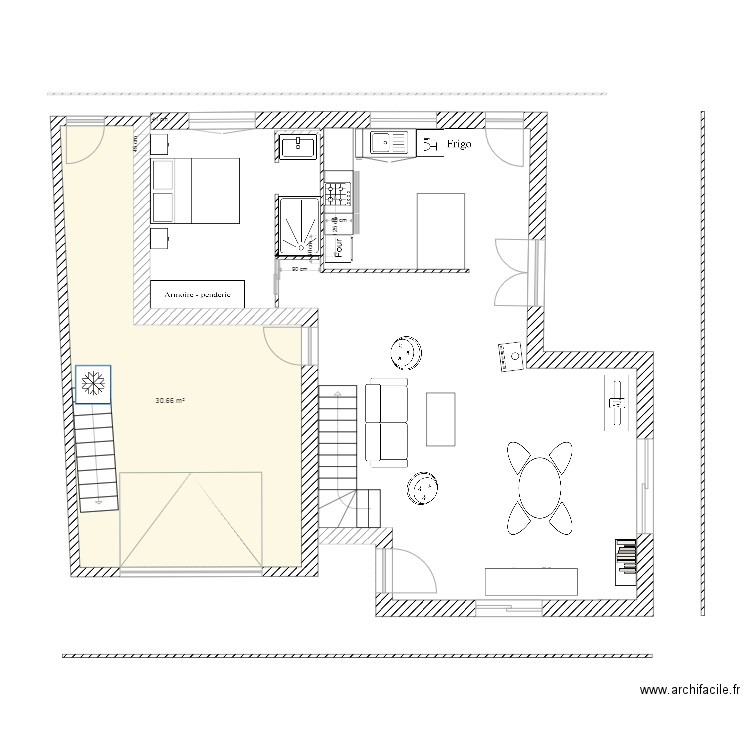 plan de maison plan 2 pi ces 43 m2 dessin par jomado. Black Bedroom Furniture Sets. Home Design Ideas