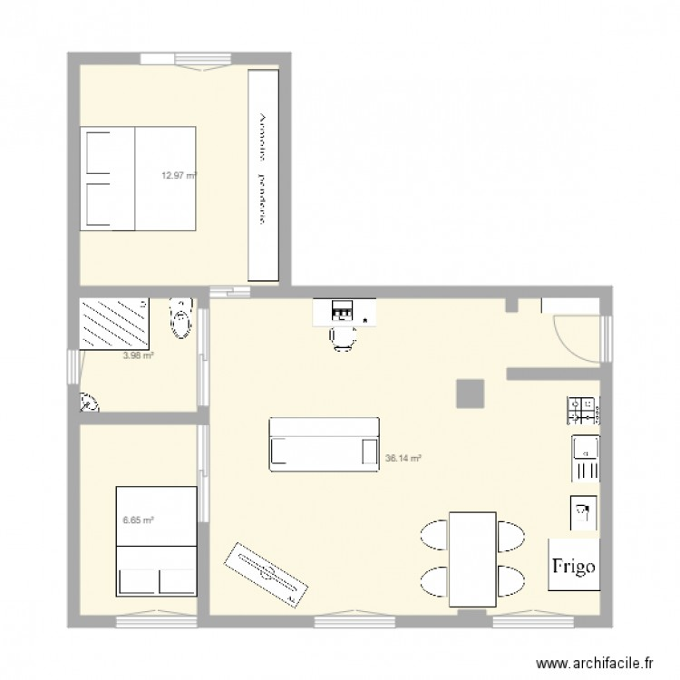 appartement claude plan 4 pi ces 60 m2 dessin par. Black Bedroom Furniture Sets. Home Design Ideas