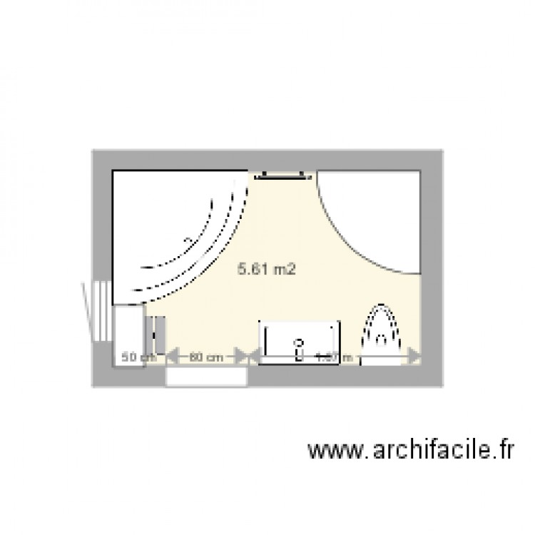 salle de bain plan 1 pi ce 6 m2 dessin par elsatou. Black Bedroom Furniture Sets. Home Design Ideas