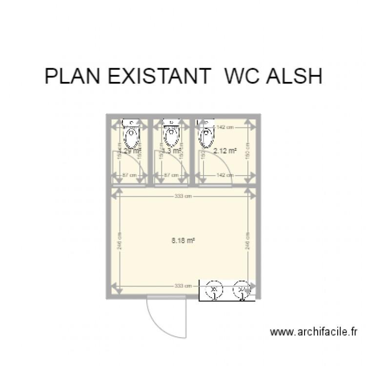 Plan existant wc alsh plan 4 pi ces 13 m2 dessin par mairie de crozon - Changer un wc existant ...