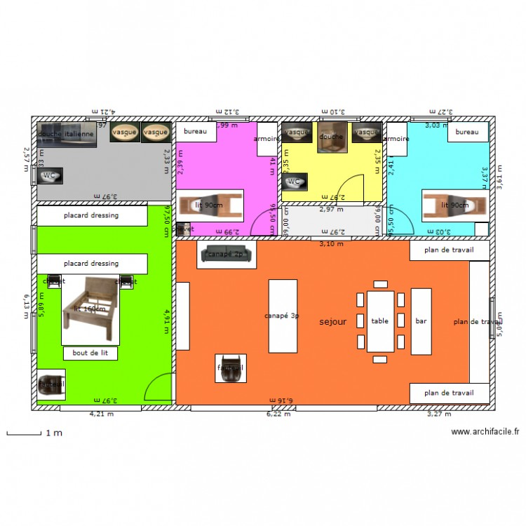 la maison de mes r ves plan 7 pi ces 107 m2 dessin par bebeguy. Black Bedroom Furniture Sets. Home Design Ideas