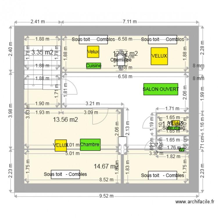 Grenier calcul hauteur plan 5 pi ces 46 m2 dessin par tixier jean pierre - Calcul m2 piece ...