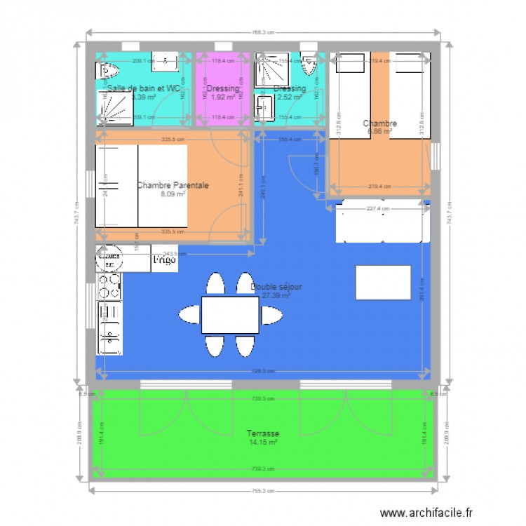 Plan 2 Chambres 2 Sde Greencottages 50m2 Plan 7 Pièces 64