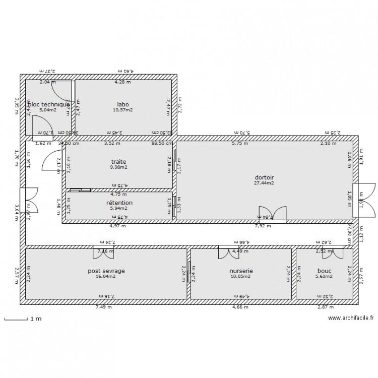 Chevrerie type longitudinal plan 9 pi ces 111 m2 dessin for Plan a 3 site gratuit