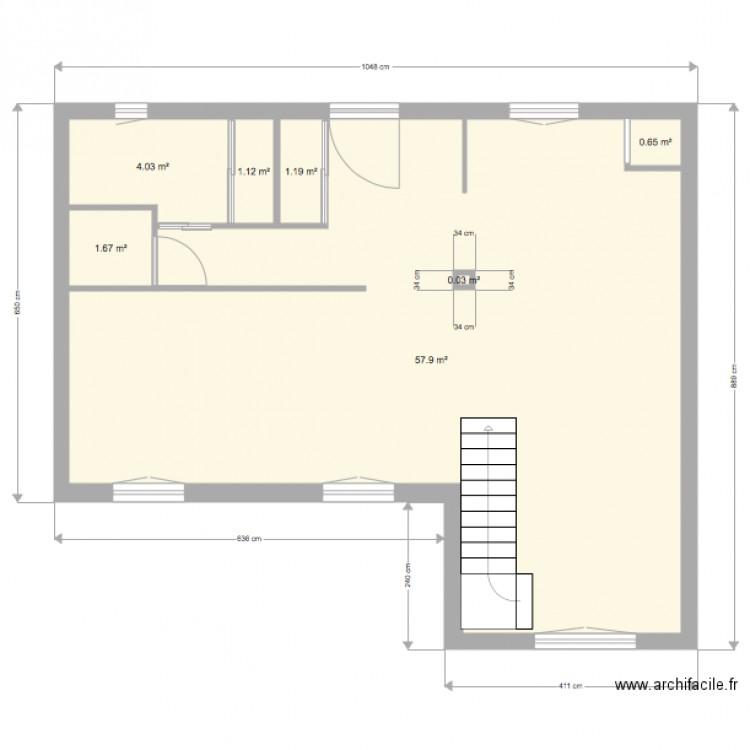 Maison mesures plan 5 pi ces 68 m2 dessin par defaucheuxl for Taille moyenne maison