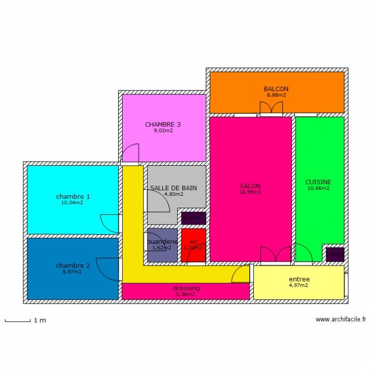 Appartement f4 plan 14 pi ces 90 m2 dessin par ogermartine for Plan maison type f4