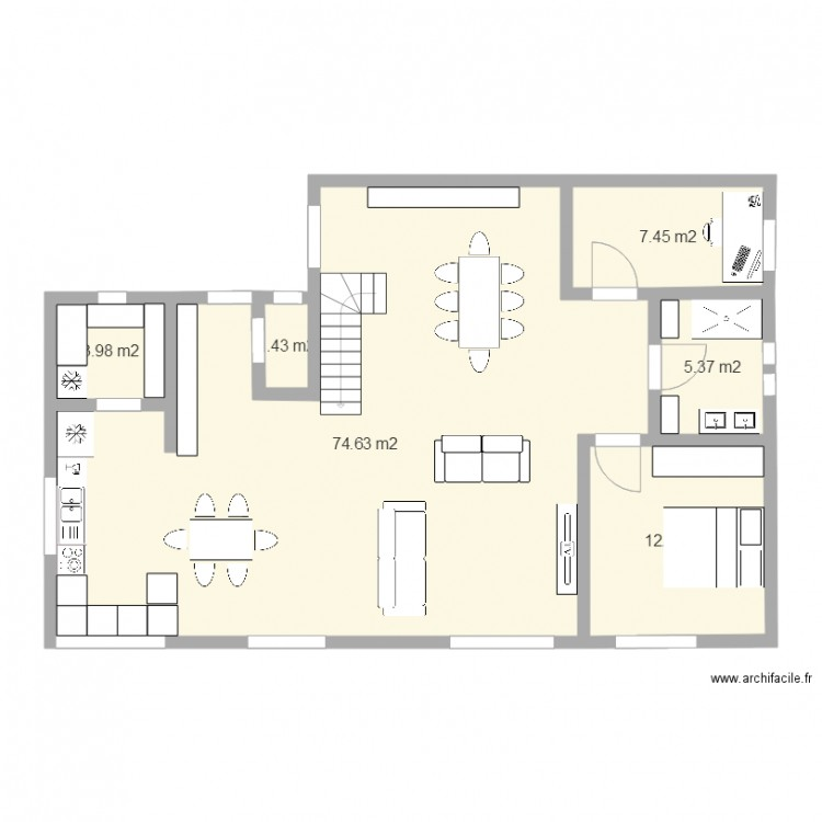 Plan De Maison Simple Sans Garage : Maison sans garage plan pièces m dessiné par