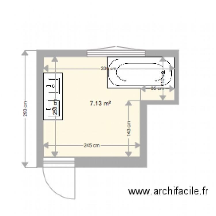 Salle de bain enfant plan 1 pi ce 7 m2 dessin par filtou for Salle de bain 7 5 m2