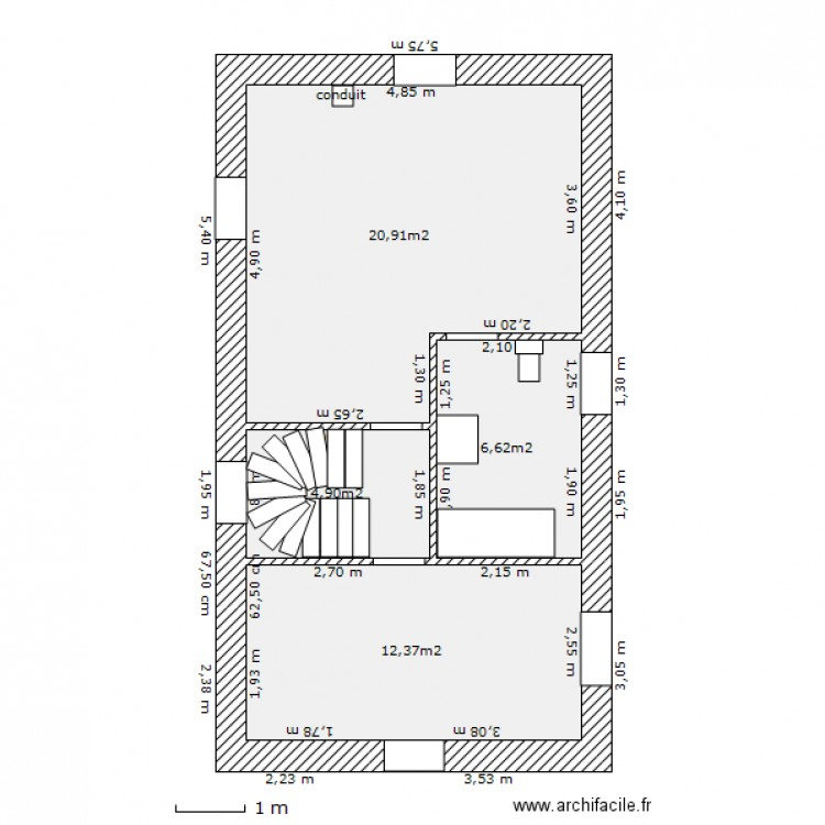 plan maison etage 45 m2