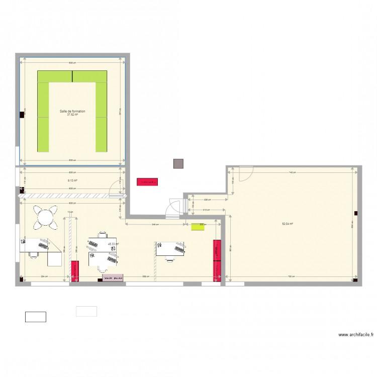 Bureau rh apr s travaux plan 4 pi ces 147 m2 dessin par for Nombre de m2 par personne bureau