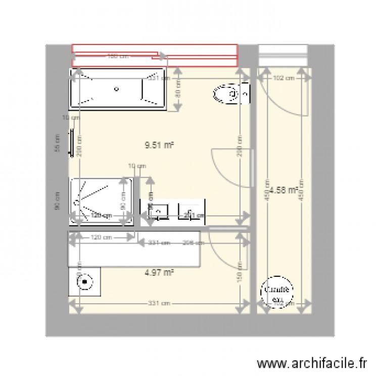sdb taille ok plan 3 pi ces 19 m2 dessin par fab1705. Black Bedroom Furniture Sets. Home Design Ideas