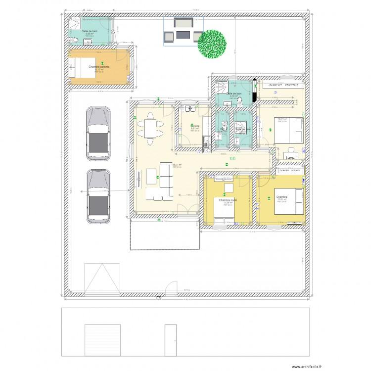 villa basse 4 pieces plan 10 pi ces 109 m2 dessin par sisep