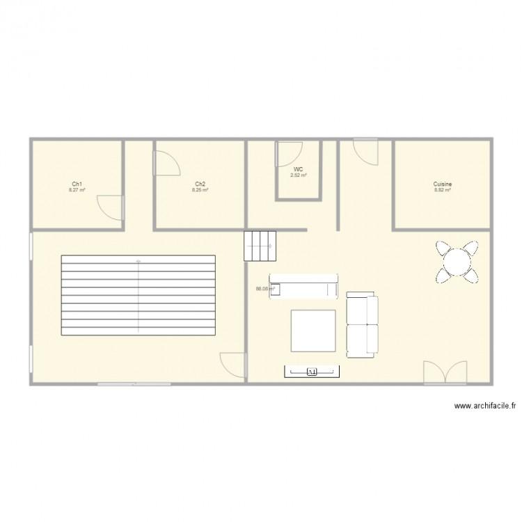 Plan maison espace plan 5 pi ces 114 m2 dessin par senders for Plan de maison 5 pieces