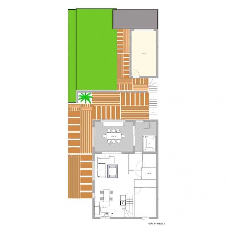 Agrandissement maison plan 4 pi ces 45 m2 dessin par for Agrandissement maison plan