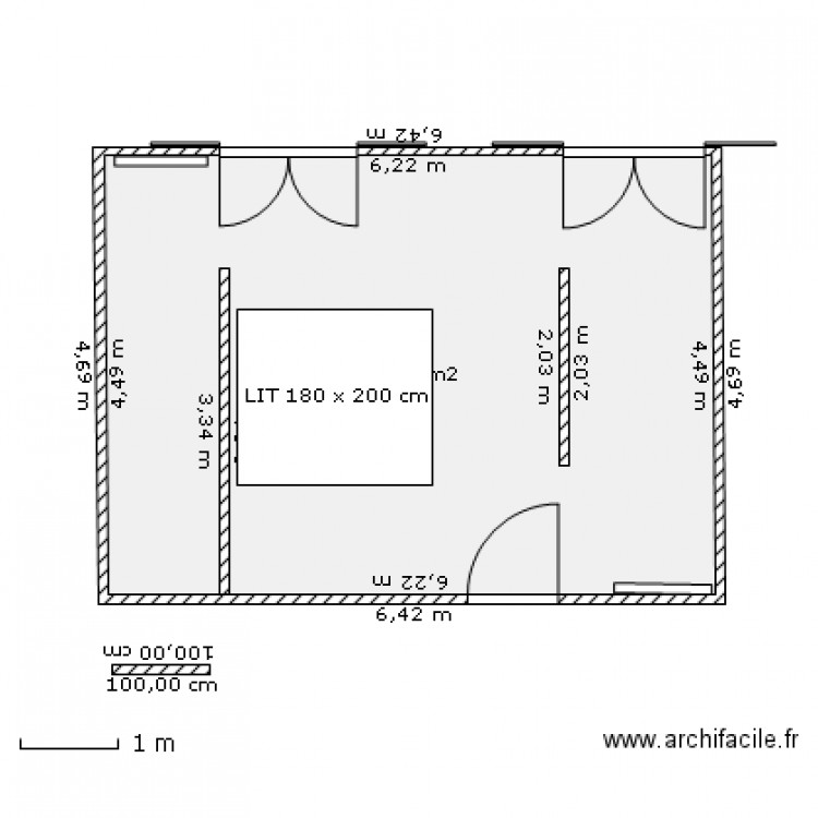 suite parentale plan 1 pi ce 28 m2 dessin par ah45. Black Bedroom Furniture Sets. Home Design Ideas
