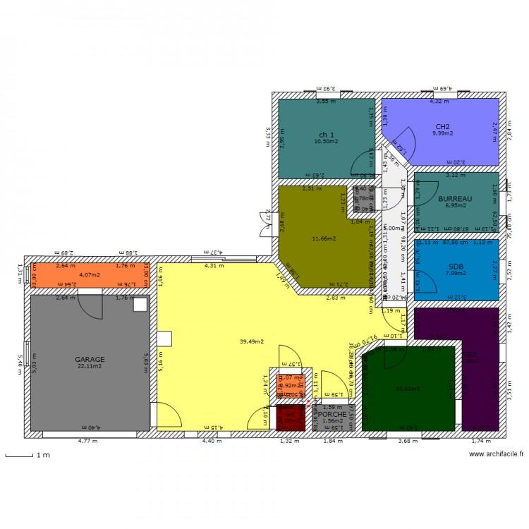 maison en l 110 m2 3 plan 15 pi ces 140 m2 dessin par. Black Bedroom Furniture Sets. Home Design Ideas